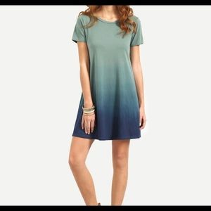 Shein Ombre XXL Tee Dress Casual Short Natural